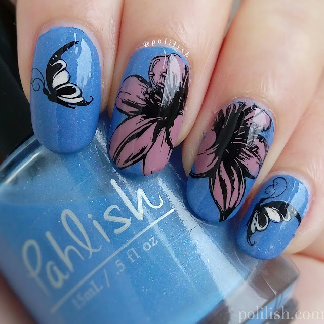 Reverse stamped nails with flowers and butterflies, featuring Pahlish 'Such Great Heights'