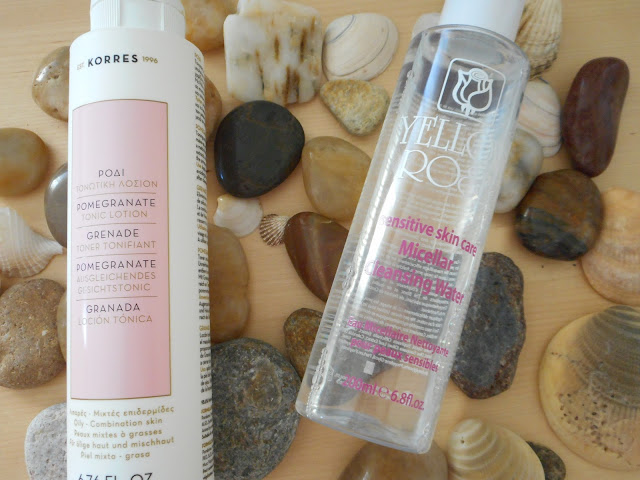 Yello Rose Micellar cleansing water and Korres Pomegranate Tonic Lotion