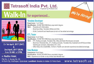 Testing Walkin 1st April 2017, Tetrasoft walkin in interviews 1st 2nd April 2017, Tester, Datawarehouse walkin interview in hyderabad