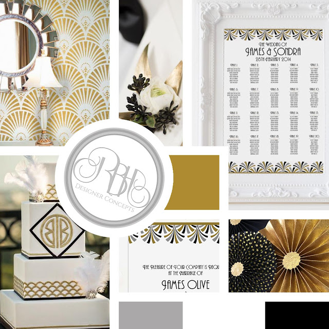 gold silver black white wedding mood board art deco anneliese