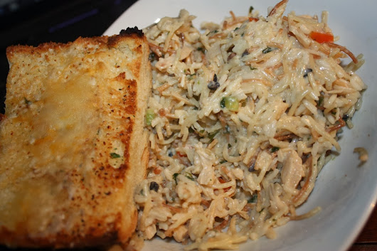 Creamy Rice and Pasta with Chicken and Vegetables
