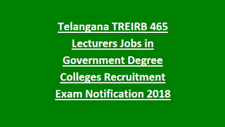 Exam Pattern and Syllabus Telangana TREIRB 465 Lecturers Jobs in Government Degree Colleges Recruitment Exam Notification 2018