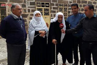 المعمر توفيق ابو محمود من مدينة شهبا بالسويداء تجاوز عمره الـ 105 سنوات و175 ابنا وحفيدا.