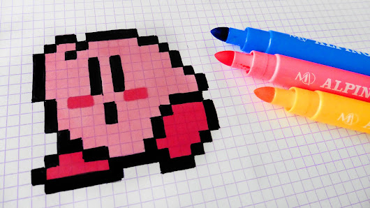 Handmade Pixel Art - How To Draw Kirby Kawaii #pixelart