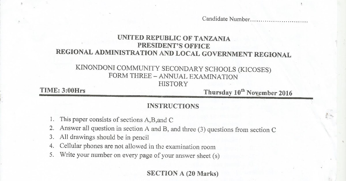 FORM THREE STUDY NOTES & PAST PAPERS BLOG: HISTORY---FORM