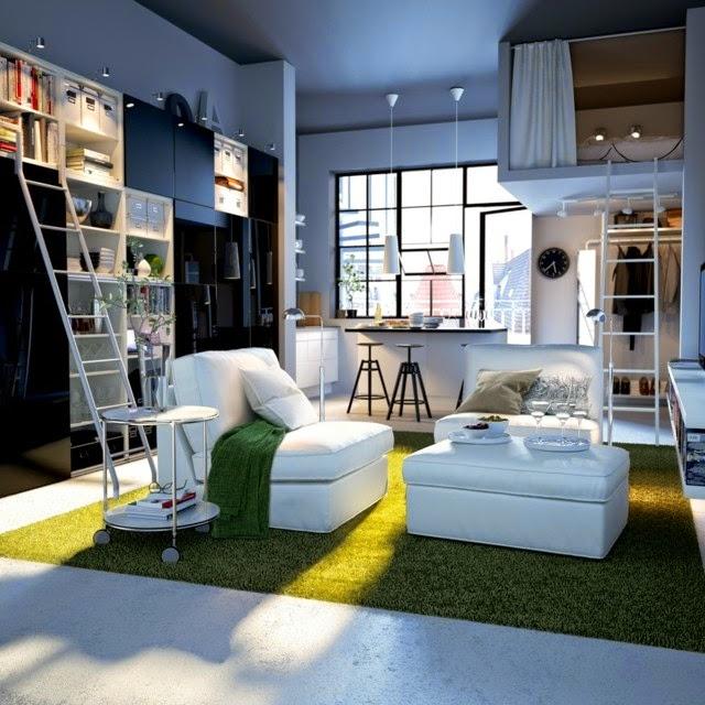 small studio apartment ideas: small studio apartment with wall shelves