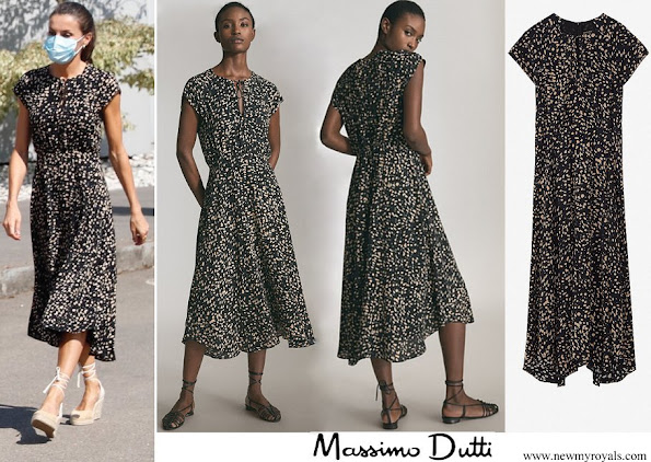 Queen Letizia wore Massimo Dutti Animal Print dress