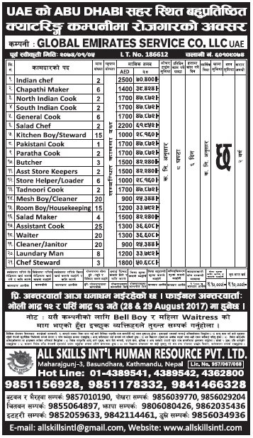 Jobs in UAE for Nepali, Salary Rs 70,400
