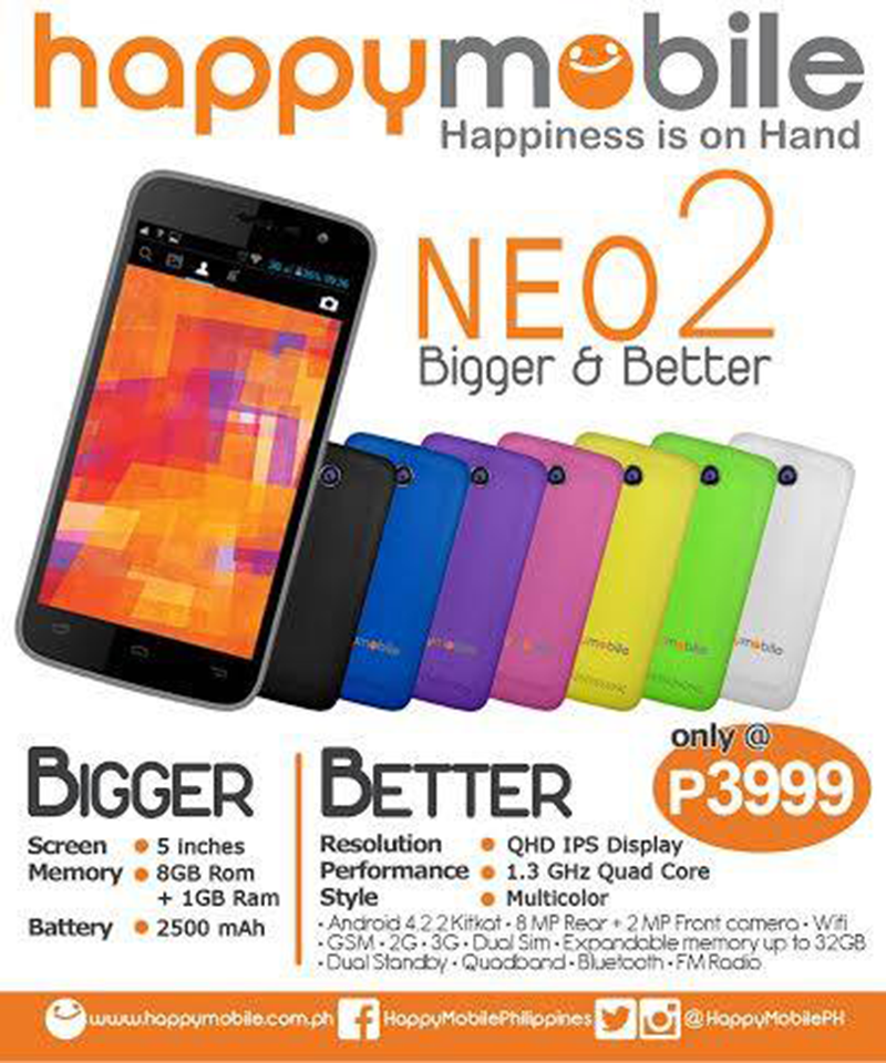 HAPPY MOBILE NEO 2 ANNOUNCED! BETTER SPECS AT 3,999 PESOS!