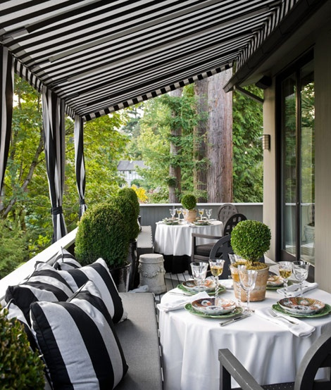 Outdoor Living Room Design: Simple Details: Black And White Awnings