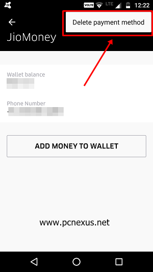 uber delete payment method