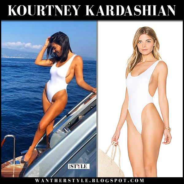 Kourtney Kardashian in white one piece swimsuit norma kamali marissa beach vacation style july 6