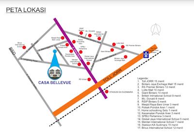 Perumahan Casa Bellevue Residence: Dijual Rumah Cluster Exclusive Baru di Bintaro Jakarta, Strategis Selatan Jakarta, Dekat Tol Bintaro dan JORR.