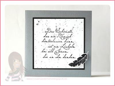 Stampin' Up! rosa Mädchen Kulmbach: Trauerkarte mit Four Feathers, Gorgeous Grunge und Spruch