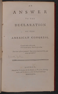 """A title page for """"An Answer to the Declaration of the American Congress."""""""