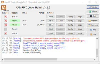 Contoh pesan error Apache pada Xampp