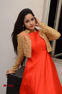 Telugu Actress Divya Nandini Stills in Orange Sleeveless Gown at Chennai Chaitrama Movie le Launch Event  0095.JPG