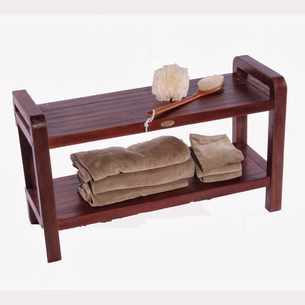 Great Ideas Teak Shower Bench Solid Bath Chair