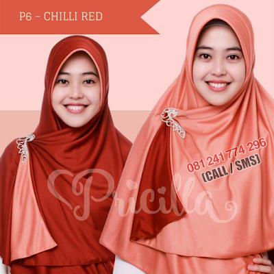 JILBAB Bolak Balik Atau Timbal Balik Original P6 - CHILLI RED