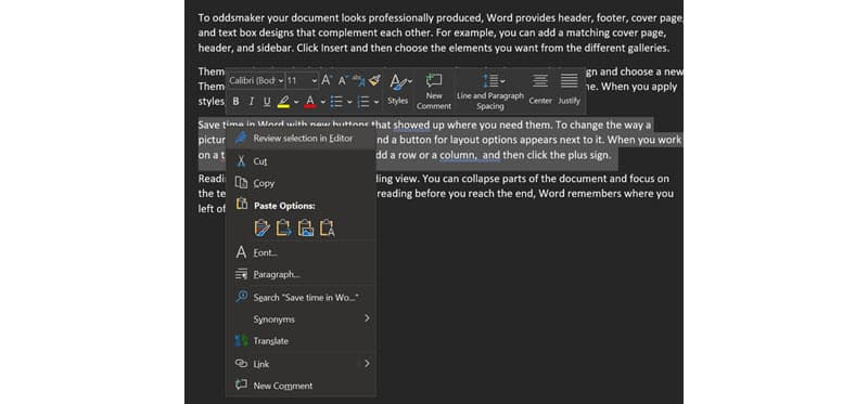 Screenshot showing the Proof selected text option in Word's Editor feature