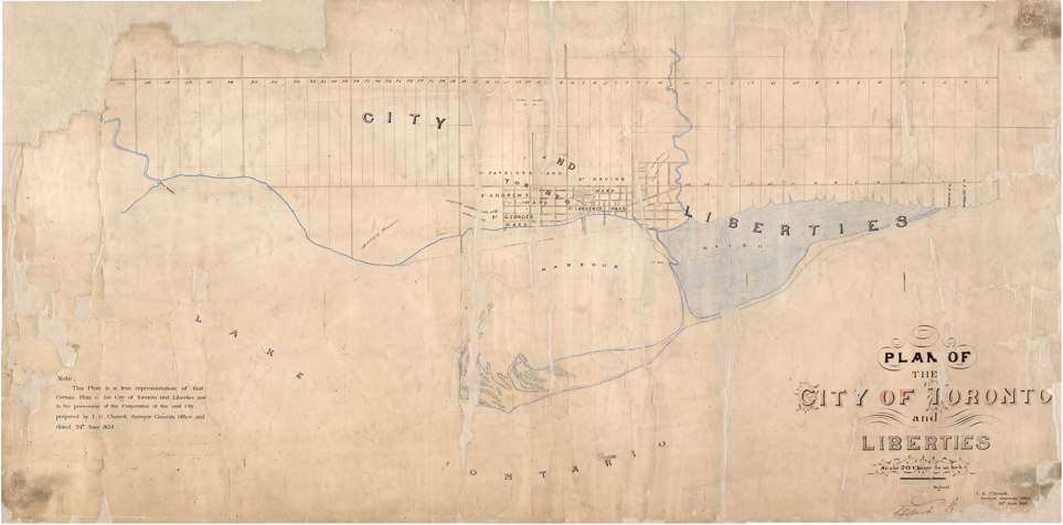 1834 Plan of the City of Toronto and Liberties, JG Chewett