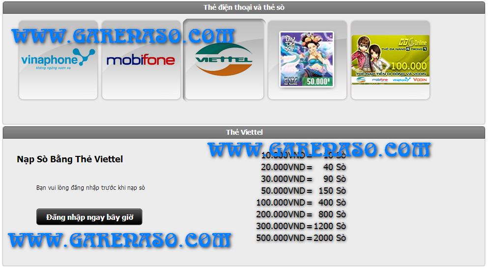 Hình ảnh trang web nạp thẻ garena trước khi đăng nhập nạp sò
