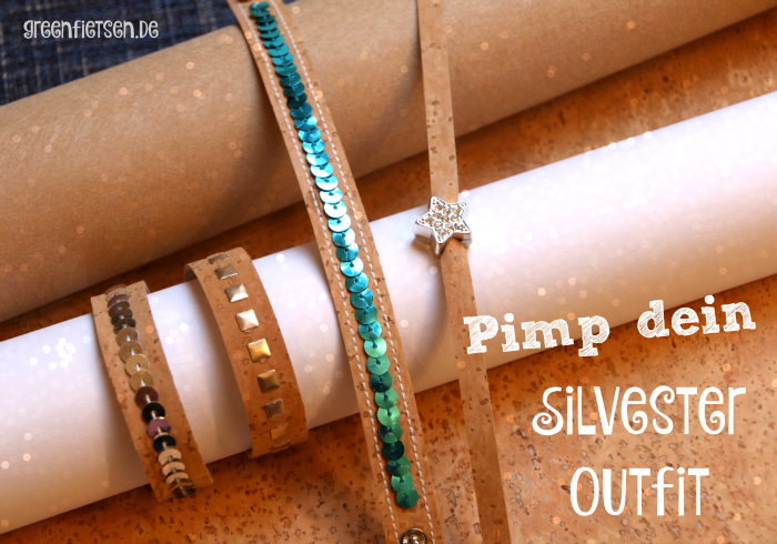 Pimp dein Silvester-Outfit! - Glitzerblingbling-Armbänder aus Korkstoff