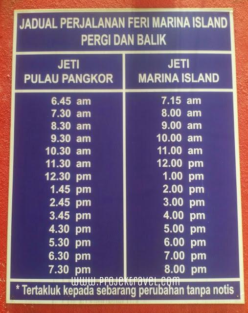 Jadual Perjalanan Feri Marina Island Pergi Dan Balik