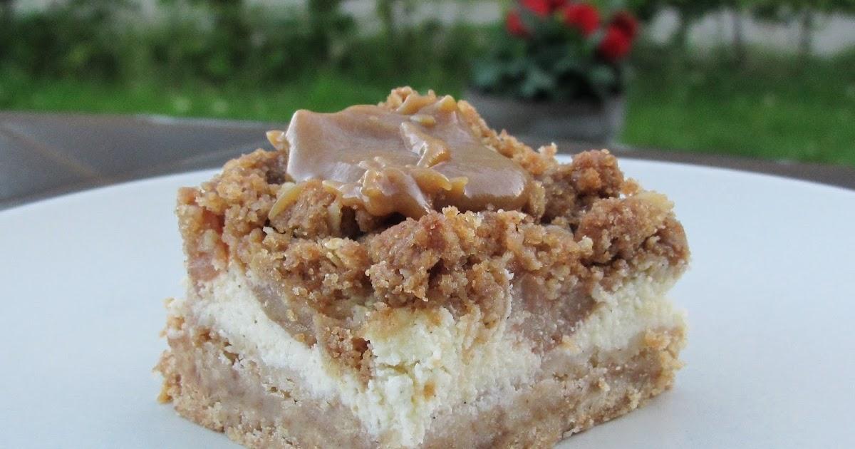 Madglad Bogorm: Cheesecake bar med æble og karamel