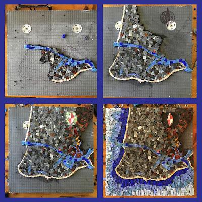 cape may chart map cartography art glass Sharon Warren progress smalti mosaic orsoni italian