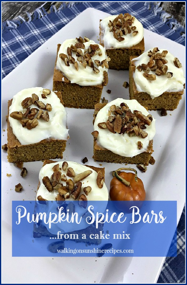 Pumpkin Spice Bars from  a Cake Mix from Walking on Sunshine Recipes