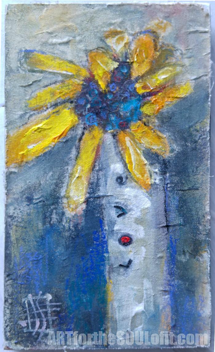 Valentine Love Flower original painting by Joanie Springer 2016