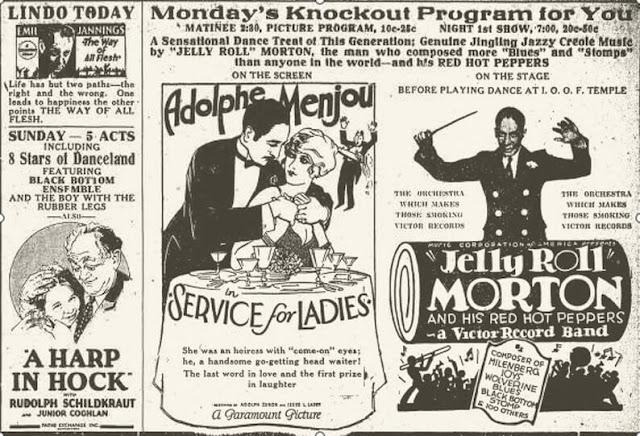 Διαφήμιση με τη τζαζ μπάντα του Τζέλι Ρολ Μόρτον /Jelly Roll Morton ad