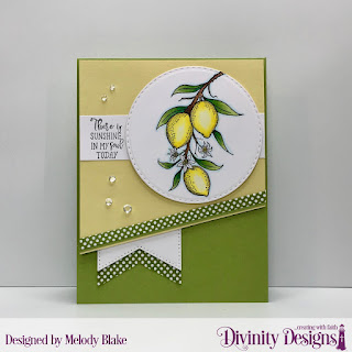 Divinity Designs Stamp Set: Lemon Branch,Custom Dies: Double Stitched Circles, Large Banners, Paper Collection: Birthday Brights