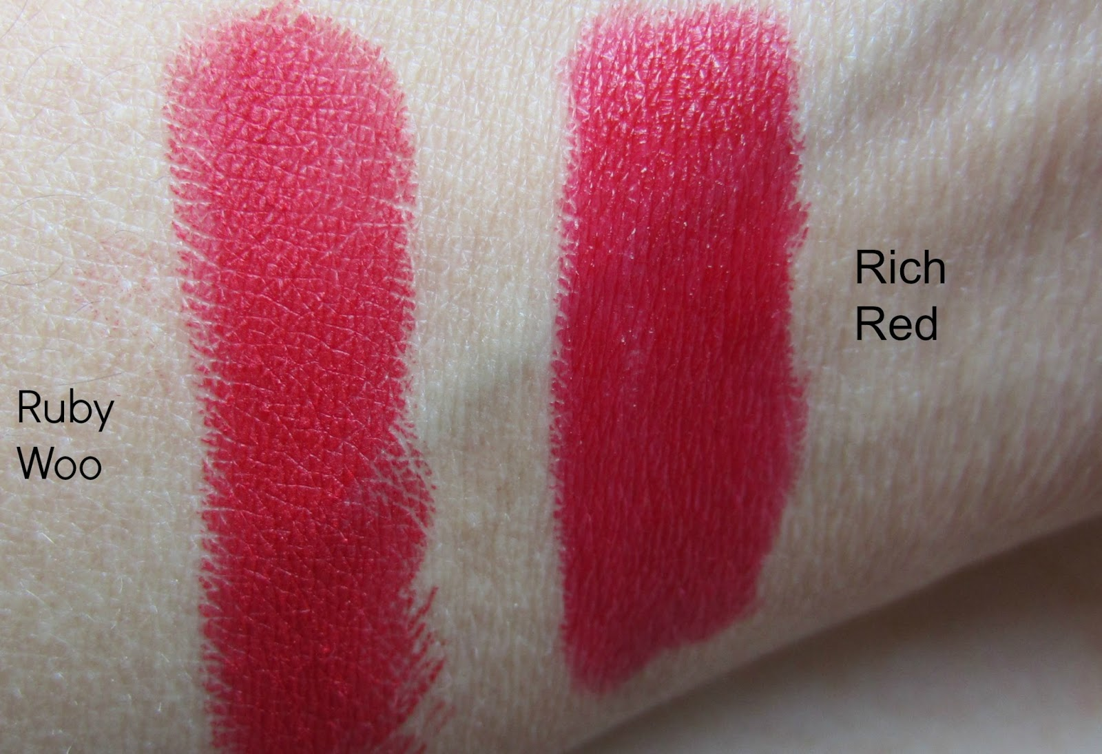 mac ruby woo e.l.f matte lip color rich red