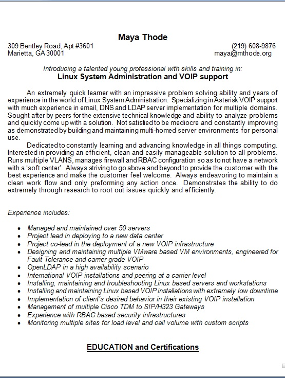 linux administrator sample resume format in word free download
