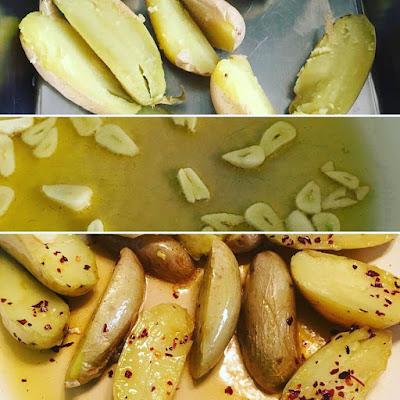 receta, patatas con pimentón, patatas con ajo, patatas al microondas, chuletas de pavo con patatas, que comemos hoy, cocina,