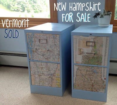Decoupage Map Fancy File Cabinets