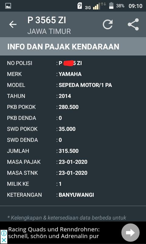 gambar hasil cek pajak kendaraan online