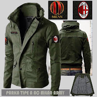 Jual Jaket Bola Parka AC Milan Type A Logo Lepas Pasang