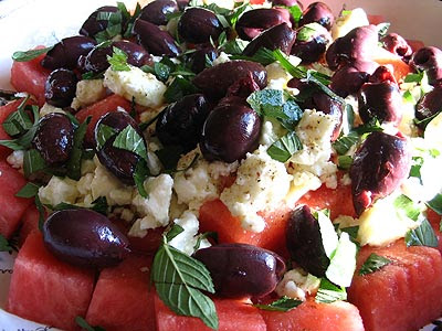 Watermelon & Feta Salad With Olives
