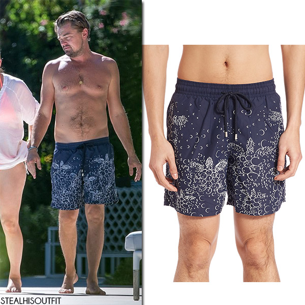 Leonardo DiCaprio in blue swim shorts celebrities in vilebrequin summer 2017