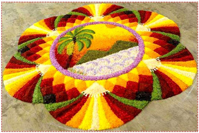 New year 2017 rangoli designs with flowers pictures images