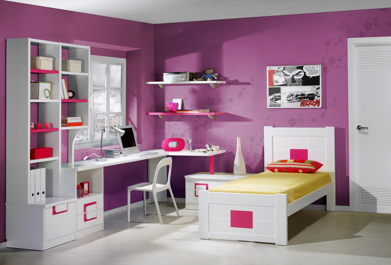 Dormitorios juveniles con cabecero camas individuales for Habitaciones para ninas y adolescentes