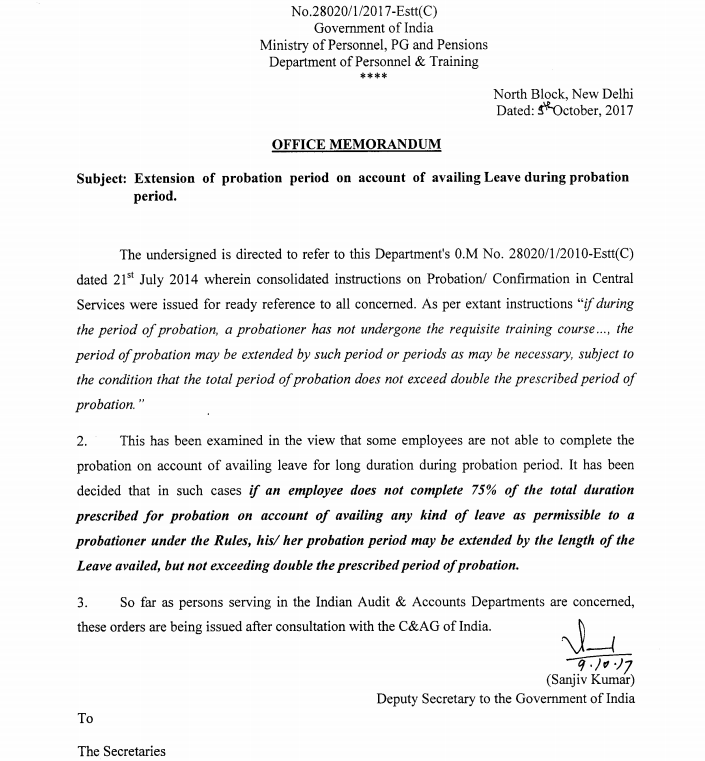 Extension of probation period on account of availing Leave during
