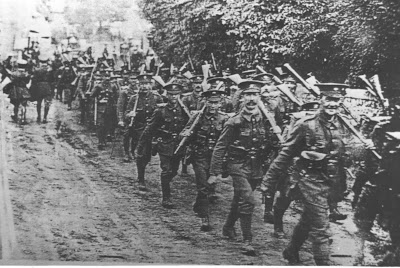 Men of the 25th Battalion , Northumberland Fusiliers, on the line of march. This photo was taken in Wiltshire but they would have looked very similar on the Somme. From Tyneside Irish by John Sheen.