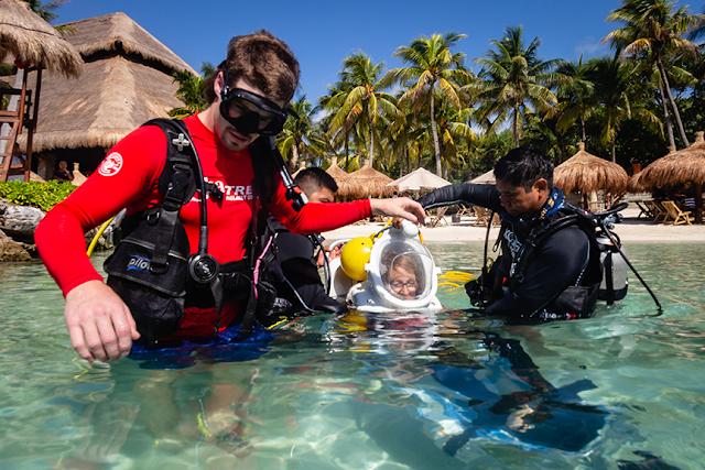 underwater in wheelchair