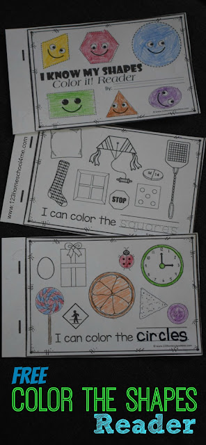 FREE Color the Shapes Reader Emergent Reader - these free printable shape worksheets help toddler, preschool, prek, kindergarten, and first grade kids learn the names of 9 shapes. Kids read a simple sentence, trace the shape word and color the appropriate shapes. Perfect for math centers, extra math practice, and homeschoolers.. #shapes #shapesworksheets #freeworksheets #kindergartenworksheetsandgames