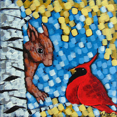 I was here first acrylic painting by duluth artist aaron kloss at siiviis gallery in duluth mn, painting of a squirrel, cardinal, birch, northern minnesota