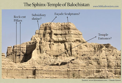 The Sphinx-Temple of Balochistan shows evidence of being a man-made, rock-cut, temple